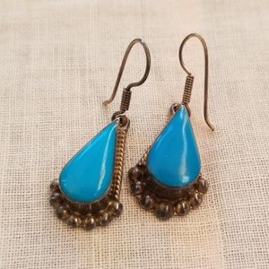 Vintage 925 mexico silver turquoise earrings